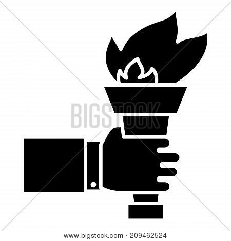 hand with fire torch - achieving goal icon, illustration, vector sign on isolated background