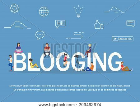 Blogging concept of young people using laptops and tablets for reading blogs and websites. Flat design.