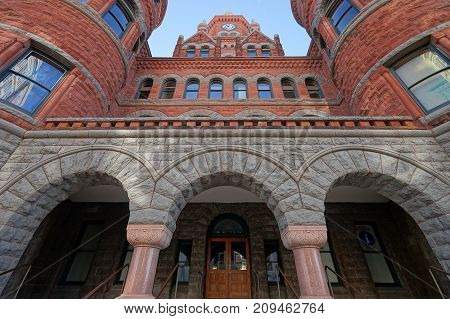 December 25 2016 Dallas Texas: The Dallas County Courthouse also known as the Old Red Museum built in 1892 of red sandstone rusticated marble accents