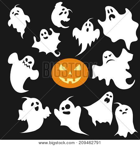 Ghost, a set of ghosts for Halloween. Flat design, vector illustration, vector.