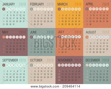 Calendar 2018 year colored squares. Week starts from Sunday eps 10