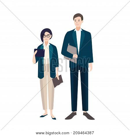Couple of people dressed in business clothes or smart suits. Pair of male and female clerks or office workers isolated on white background. Flat colorful cartoon characters. Vector illustration