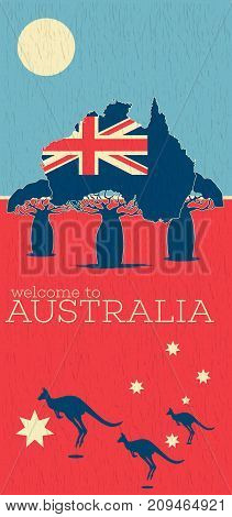 Welcome to Australia vintage poster with australian patriotic symbols. World traveling minimalistic concept with jumping kangaroo, touristic advertisement, authentic culture vector illustration.