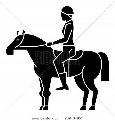 horse racing - rider - horseman - jockey icon, illustration, vector sign on isolated background