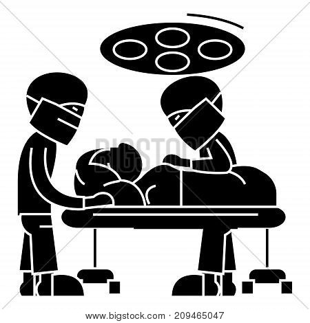 hospital operating room with doctors - surgery room - surgery operation icon, illustration, vector sign on isolated background