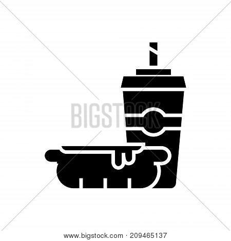 hot dog with coffee cup - fast food icon, illustration, vector sign on isolated background
