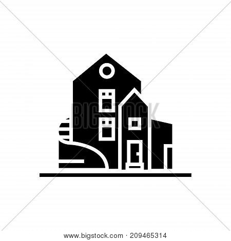 house - luxury - detached mansion icon, illustration, vector sign on isolated background