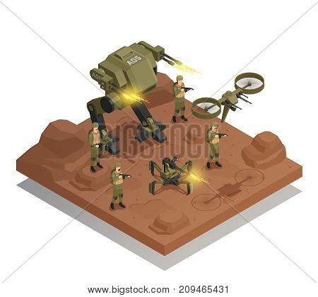 Fighting robots isometric composition with walking tank infantry stormtrooper drone decorative icons vector illustration