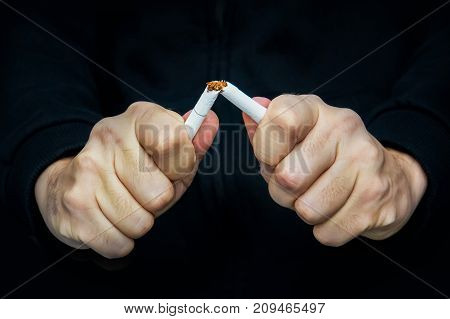 Breake Down Cigarette. Quitting From Addiction Concept.