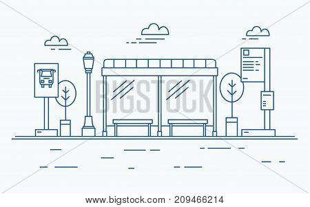 Bus stop, street light, public transport timetable or information board, sign and trees against sky with clouds on background drawn with contour lines in monochrome colors. Vector illustration