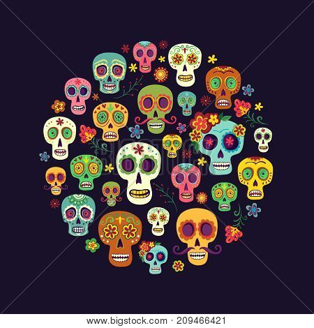 Composition from a group of sugar skulls on a dark background. A circle of Mexican skulls. Bright background to the day of the dead
