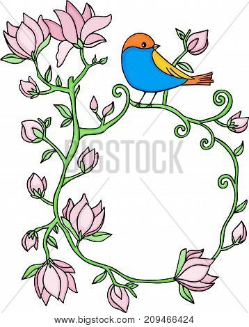 Scalable vectorial image representing a flower frame with blue bird, isolated on white.