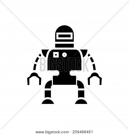 industrial robot icon, illustration, vector sign on isolated background
