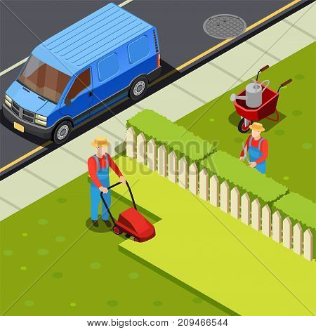 Gardener isometric composition with minivan car and two gardener figures with cutter scissors and grass mower vector illustration