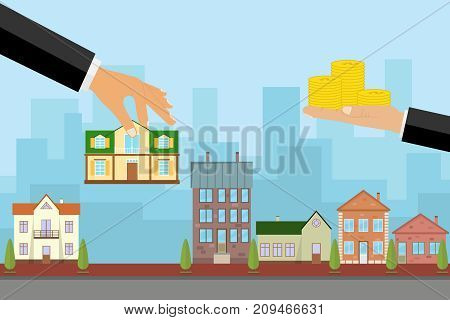 The agent sells the house in exchange for money, the hand holds the house and the other keeps the money. Flat design, vector illustration, vector.
