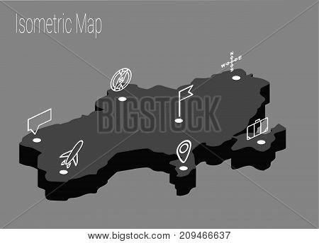 Map Ukraine isometric concept. 3d flat illustration of Map Ukraine.