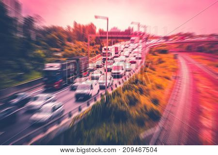 Cars In Traffic Jam On Highway ,  Concept Motion Blur