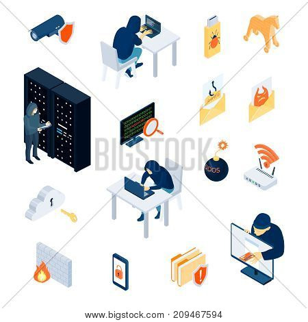 Hacker set of isometric icons with personal data protection, firewall, phishing, email with spams isolated vector illustration