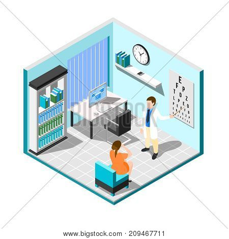Isometric ophthalmologist composition with medical examination room interior with furniture patient and eye specialist human characters vector illustration