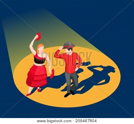 People in bright costumes dancing flamenco on stage in spotlight 3d isometric vector illustration