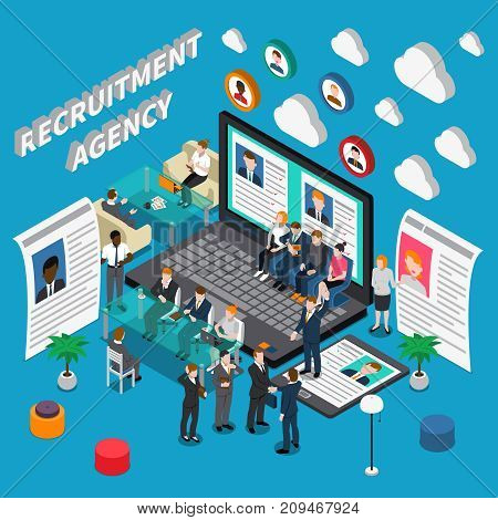 Isometric colored recruitment hiring HR management people composition with recruitment agency description vector illustration