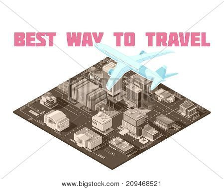 Air travel isometric poster with blue plane during climbing or landing over monochrome airport facilities vector illustration