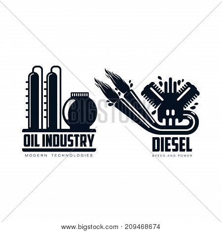 vector diesel gasoline engine with fire from exhaust pipe, oil refinery plant simple flat icon pictogram set isolated on a white background. Gas oil fuel, energy power petroleum industry symbol, sign