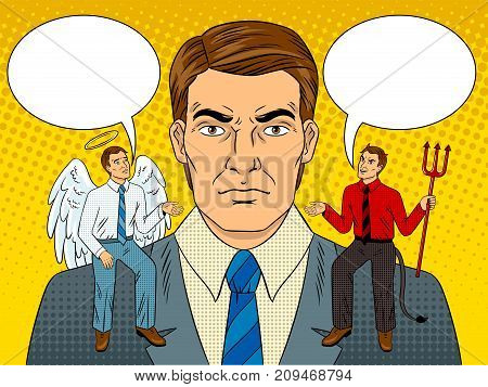 Devil and angel on businessman shoulders pop art retro vector illustration. Metaphor of good and evil. Comic book style imitation.