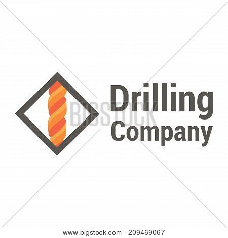 Vector logo template for drilling company. Rotating drill icon. EPS10. Geological prospecting sign.