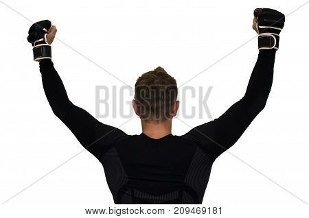 Young man boxing competition winner with arms raised up isolated on white background. Boxing champion. Fighting winner.