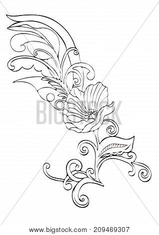 Abstract Flower Cartoon, Vector Black And White Contour Hand-drawn, Outline Monochrome Illustration,