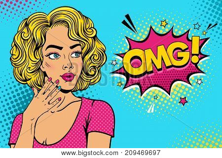 Wow female face. Sexy surprised young woman with open mouth and pink curly hair rising her hand and OMG speech bubble. Vector colorful background in pop art retro comic style. Party invitation poster.