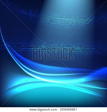 Abstract digital background with light lines waves the concept of virtual space of technologies of the future