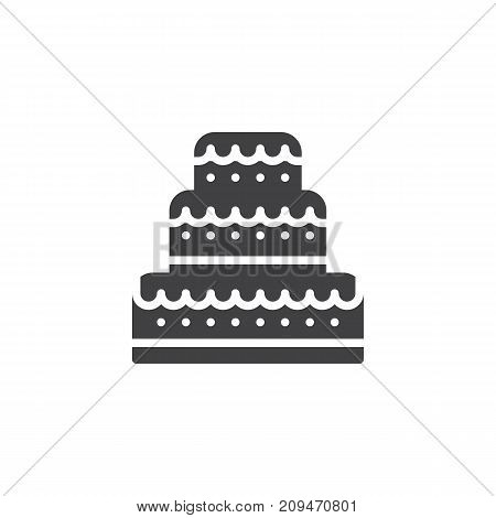 Wedding cake icon vector, filled flat sign, solid pictogram isolated on white. Event symbol, logo illustration.
