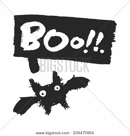Halloween bat and speech bubble with Boo on it. Hand drawn ink and brush illustration with calligraphy lettering. Isolated on white background. Clipping paths included.