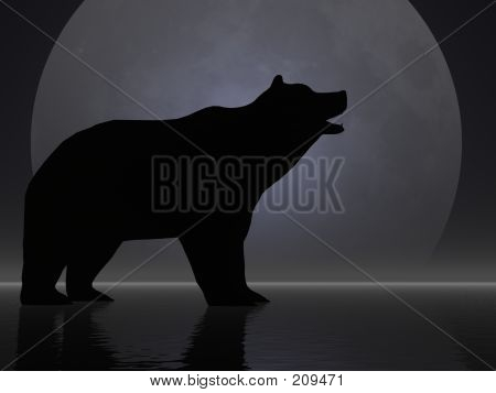 silhouetted bear roaring poster