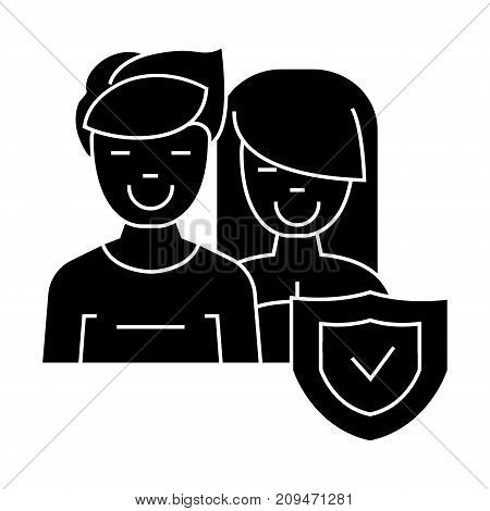 man and woman - front - shield icon, illustration, vector sign on isolated background