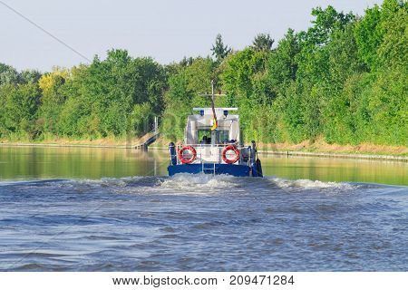 A police patrol boat on the river