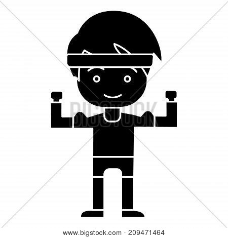 man boy strong - hands up icon, illustration, vector sign on isolated background