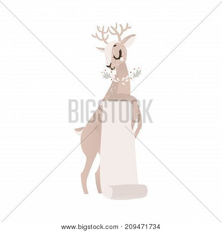 vector flat cartoon cute female christmas reindeer holding blank paper scroll. Winter holiday deer animal simbol full lenght. Isolated illustration on a white background.