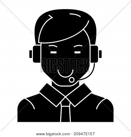 man with headset icon, illustration, vector sign on isolated background