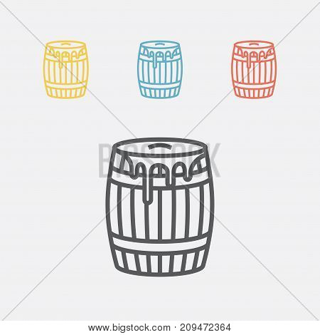 Wooden barrel with honey. Line icon. Vector sign for web graphics.
