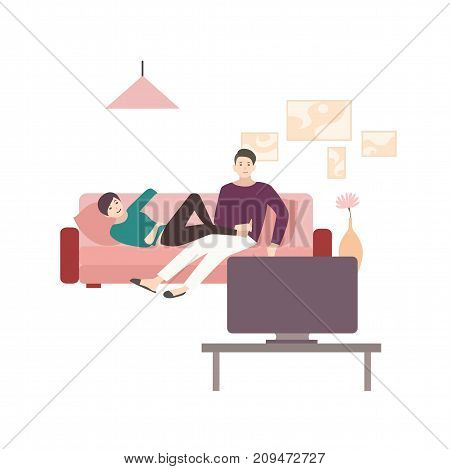 Man and woman sitting and lying on comfortable sofa and watching TV. Young couple spending time together at home in front of television set. Cute flat cartoon characters. Colorful vector illustration