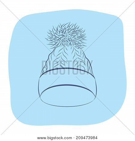A realistic knitted hat with a pompon. Women fashion accessories. Contour object on an blue background. Vector sketch illustration in hand drawing style for your design. EPS10 format.