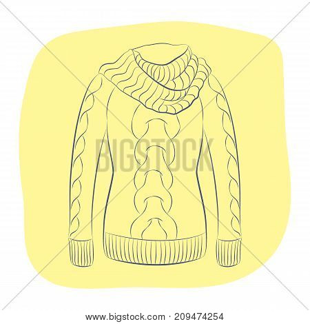 A realistic warm jumper or knitted sweater with a large collar. Women fashion winter clothes. Contour object on an yellow background. Vector sketch illustration in hand drawing style for your design. EPS10 format.