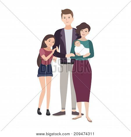 Portrait of happy loving family. Father, mother holding newborn child and teenage daughter standing together isolated on white background. Cute flat cartoon characters. Colorful vector illustration