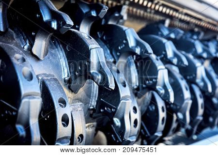 Steel manufacturing elements in a row. Railway industry