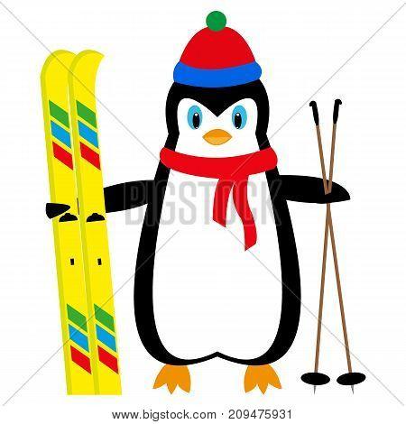 cartoon penguin skier on white background illustration