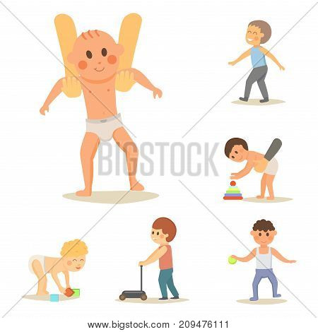 Happy laughing baby wearing cute clothing. Preschool toys of little kids. Children first walking. Textile for cheerful infants flat vector illustration.