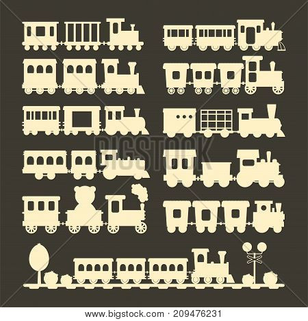Game gift kids train silhouette vector travel railroad transportation toy locomotive illustration. Graphic fun locomotive transport railway vehicle colorful carriage ride.
